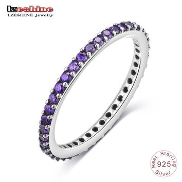LZESHINE Antique 925 Sterling Silver Finger Ring with Purple Cubic Zircon Wedding Bands Charms Jewelry Rings For Women PSRI0129