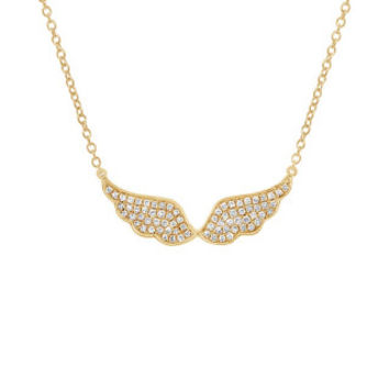 0.22ct 14k Yellow Gold Diamond Angel Wings Necklace