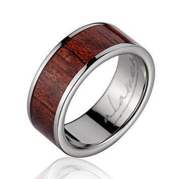 GENUINE INLAY HAWAIIAN KOA WOOD WEDDING BAND RING TITANIUM 8MM SIZE 5-14