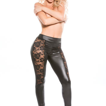 Kitten Lace & Wet Look Leggings