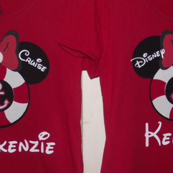 134ee90d Disney Cruise Minnie Mickey Mouse Anchor - Disney Birthday Family Custom T- Shirt Personalized Applique