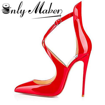 Onlymaker Women's Pumps Pointed Toe Sandals Shoes Cross Strap 12cm Thin High Heels Summer Stilettos Red Shoes Plus Size 14