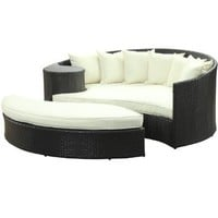 Taiji Outdoor Daybed with Ottoman with Cushions Fabric: Multicolor, Finish: Espresso