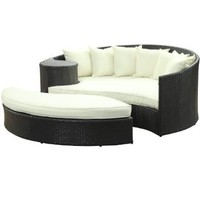 LexMod Taiji Outdoor Patio Daybed in Espresso White