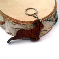 Goat Wooden Keychain, Walnut Wood, Animal Keychain, Deer Keychain, Environmental Friendly Green materials