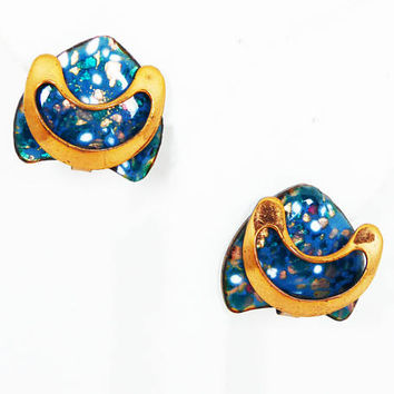 Signed Renoir Copper & Enamel Earrings - Clip on Blue Enamel Speckled Earrings - Mid Century Vintage 1950s Mid Century Jewelry
