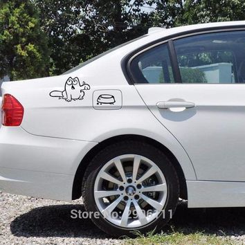 Hungry Simon's cat bowl car sticker gas tank cap for saab key 9-3 9-5 emblem 93 evening dress 95 900 9000 tech 2  car-styling