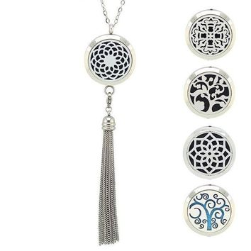 CREYCI7 With Chain as Gift! 316L Stainless Steel 30MM aromatherapy Essential Oils Diffuser Necklace with Tassel