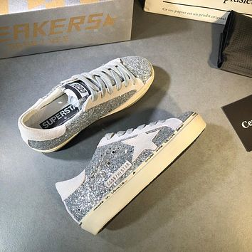 Golden Goose Ggdb Hi Star Sneakers With Glitter And White Star