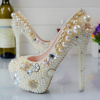 White Pearl Bead Bridal Heels Glamour Shoes Pumps