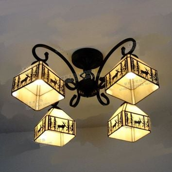 light Village deer Ceiling Lights art glass apartment dining room bedroom decoration iron 5 heads ceiling lamps ZA DF63