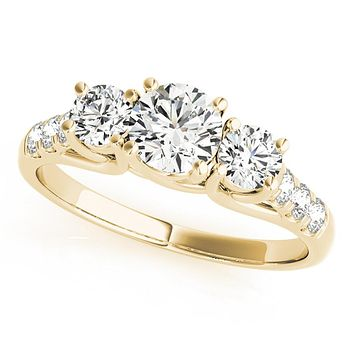 14k Yellow Gold Three-Stone Engagement Ring (0.25 carat, I-J Color, I2-I3 Clarity)