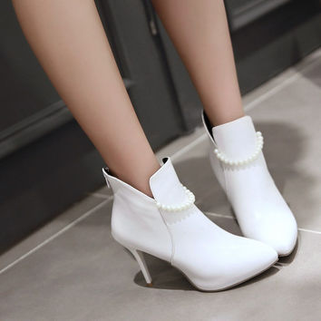 Pointed Toe Pearl High Heels Ankle Boots Women Shoes New Arrival