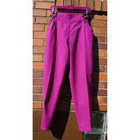 Vintage 80s Pants, Flat Front, Tapered Leg, 100% Cotton, Fuschia Pink Slacks, Lightweight Trousers, Serkez