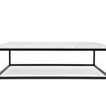 Prairie 47X30 Marble Coffee Table White Marble Top/Black Lacquered Steel Legs