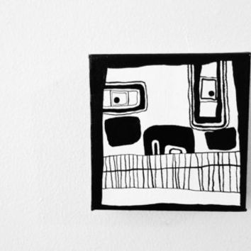 """Original OOAK Black and White Art Modern Abstract Minimal Geometric Portrait Painting of Man -  5"""" x 5"""" Canvas - FREE SHiPPiNG (Canada & US)"""