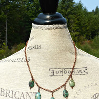 Green turquoise teardrop stones and copper necklace.