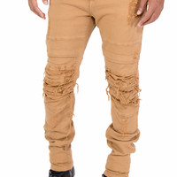 Flex Stretch Distressed Layered Denim Jeans (Camel) by Smoke Rise