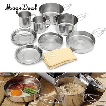 MagiDeal Stainless Steel Outdoor Picnic Pot Pan Kit Camping Hiking Backpacking Cookware Plate/Bowl/Cup/Pan Cover Cooking Set