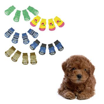 Super Deal Fashion 4Pcs Cute Puppy Dogs unisex Pet Knits Socks Anti Slip Skid Bottom socks for dogs pet socks meias