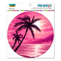 Sunset Beach Palm Tree - Hawaii Paradise Pink Circle MAG-NEATO'S TM Car-Refrigerator Magnet