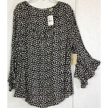 New Quizz Daisy Floral Peasant Blouse Bell Sleeve Flare Tie Front Top Plus 22