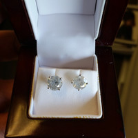 4.18 Carat H I1 Diamond Earrings 14k White Gold Setting Jewelry Fine Make Anniversary Fashion Limited Time Only Price Free Gift Box!