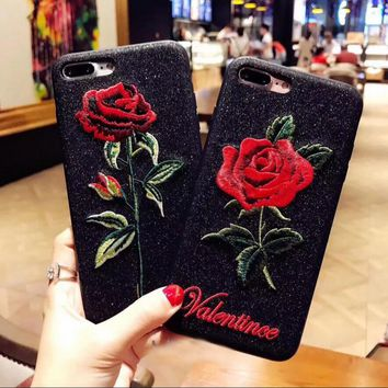 Art aesthetic embroidery rose iphone6s with a bright black hand feel of the 7plus protective cover
