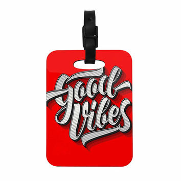 """Roberlan """"Good Vibes 2016 """" Red Typography Decorative Luggage Tag"""