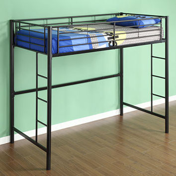 Space Saving Sunset Metal Twin/Loft Bunk Bed in Black by Walker Edison