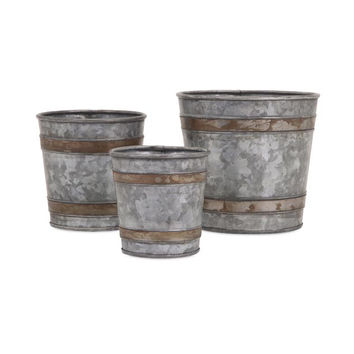 Becki Galvanized Pots - Set of 3