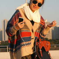 Rainbow Weaving Bat Type Cardigan Sweater $43.00