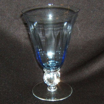 Designer Water Glass Short Stem 7in x 4in x 4in Blue Classic -- Used
