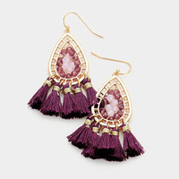 Purple & Gold Beaded Metal Teardrop Thread Tassel Earrings