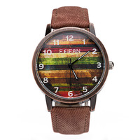 Gift New Arrival Great Deal Stylish Awesome Trendy Good Price Designer's Men Casual Vintage Denim Leather Unisex Quartz Watch [4933058308]