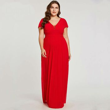 V neck long evening dress red beaded cap sleeves floor length a line dresses  women empire formal evening gown