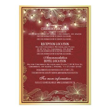 Gold Floral String Lights Wedding Direction Detail Card
