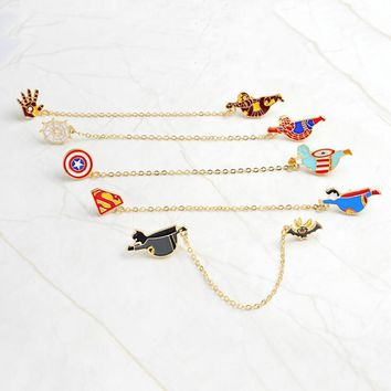 American Superhero Pin Brooches Badge Spiderman Batman Superman Captain America Ironman Marvel DC Comics Jewelry Accessories
