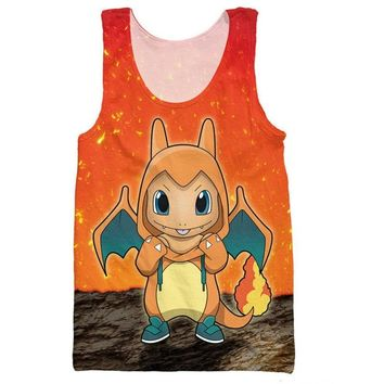 Charmander Charizard Tank Tops Japanese Anime  Character Sleeveless Shirt Striped Vest Cartoon Fashion Summer Style TeesKawaii Pokemon go  AT_89_9