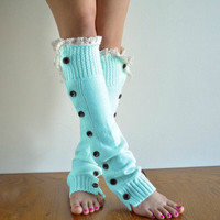 Tiffany Blue Knitted Leg Warmers, Lace trim Button Up Leg Warmers