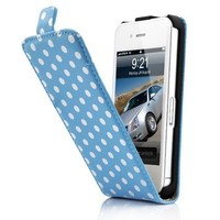 Blue and White Polka Dot Pattern Magnet Flip Hard Leather Case For Apple iPhone 4S / 4 (AT&T, Verizon, Sprint)