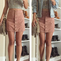 Heather Suede Skirt - Dusty Pink