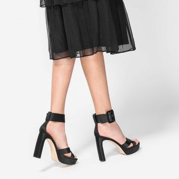 Black Oversized Buckle Platform Heels | CHARLES & KEITH