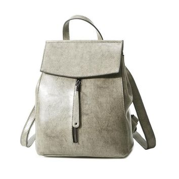 Genuine Leather Backpack Vintage Cow Split Leather Women Backpack