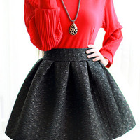 Black Embossed High Waist Skater Skirt