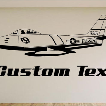 Air Force Jet Car Wall Decal - Auto Wall Mural - Vinyl Stickers - Boys Room Decor