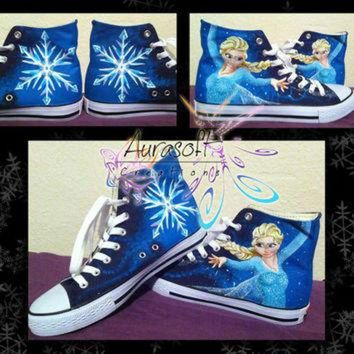 CREYUG7 Custom Painted Converse Style Disney Frozen Shoes