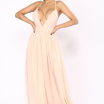 Hold Your Hand Chiffon Dress - Blush