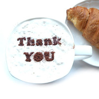 Thank you - coffee stencil, cake stencil, cupcake stencil