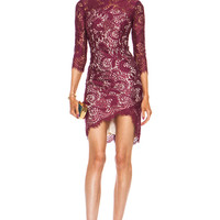 Mia Asymmetric Nylon-Blend Dress in Ruby
